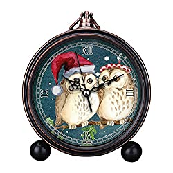 Vintage Retro Living Room Decorative Non-ticking, HD Glass Lens, Easy to Read, Quartz, Analog Large Numerals Bedside Table Desk Alarm Clock-251.merry christmas owls watercolor card winter snow