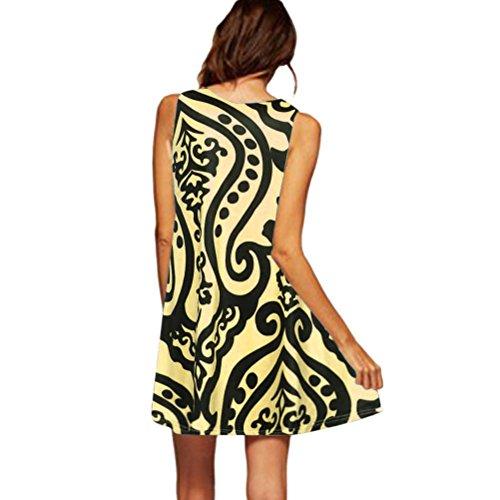 Punto Amarillo Mujer DOGZI Boho Estampado de de sin Mujer Corto Vestido Playa de con Vestido Elegante para Fiesta Verano Vintage Vestido Vestido Mangas pIwIqPrB