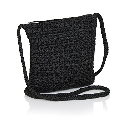 Boho Crochet Crossbody Handbag, Organizer Sling Bag, Small Crocheted Hippie Purse (Black)