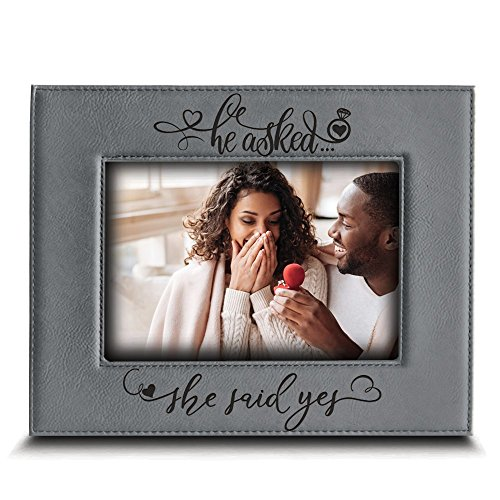 BELLA BUSTA- He Asked. She Said YES- Engagement Leather Photo Frame (5