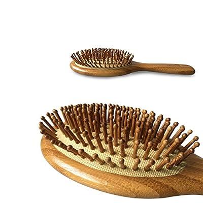 Natural Bamboo Detangling Hair Brush For All Hair Types,Hair Detangler, Improve Hair Growth, Prevent Hair Loss, Dandruff Scalp, Bamboo Bristles Pin Massage Scalp For Healthy Hair. Wet/Dry