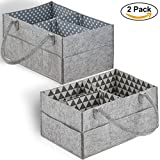 Baby Diaper Caddy Organizer Set of 2 – Nursery Basket with Handles – Baby Diaper Storage and Changing Table Organizer 2-Pack – Perfect Baby Shower Gift Basket for Newborn Girls and Boys by Cartik