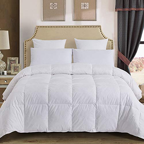 Decroom 100% Cotton Quilted Down Comforter with White Goose Duck Down Feather Filling-Lightweight and Hypoallergenic Duvet Insert- Queen/Full (Cotton Queen Comforters)
