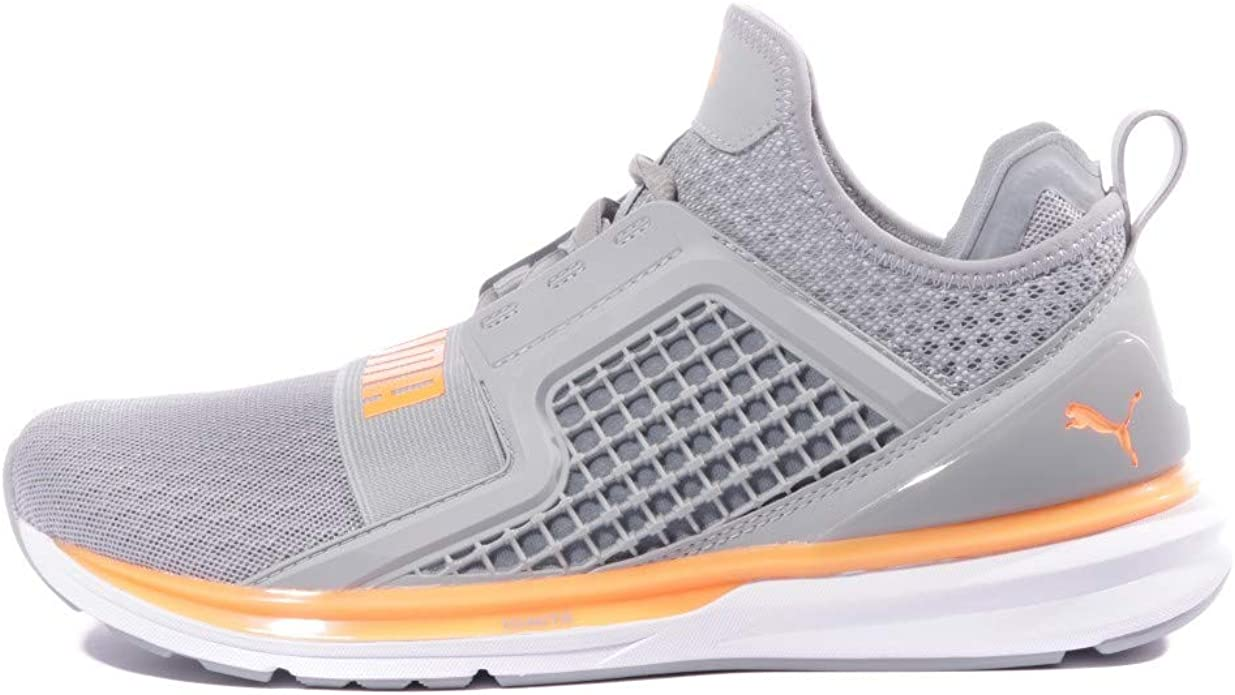 PUMA, Uomo, Ignite Limitless Quarry Fluo Orange, Tessuto Tecnico, Sneakers, Grigio