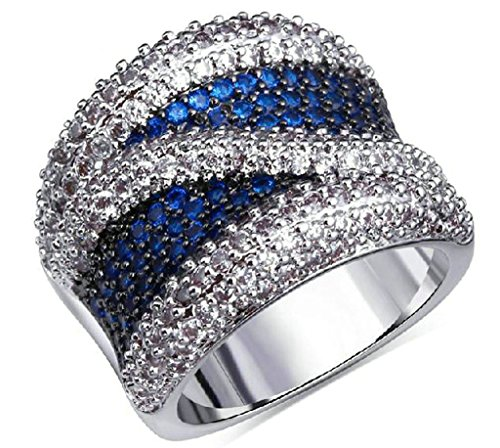 Gnzoe Jewelry, Silver Plated Womens Wedding Ring White Blue Simple Zircon Comfort Notting Hill