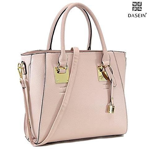 Dasein Women Faux Pebbled Leather Satchel Bag Briefcase Designer Purse Top Handle Handbag Laptop Bag - Pink Laptop Tote