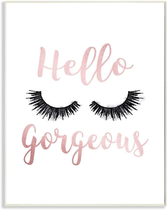 Stupell Industries Hello Gorgeous Black Eyelashes Typography Wall Plaque, 10 x 15, Design by Artist Amanda Greenwood