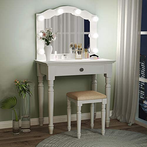 Tribesigns White Vanity Set with Lighted Mirror, Makeup Dressing Table and Stool Set with Large Drawer, Dresser Table Set for Women White