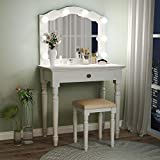 Tribesigns White Vanity Table Set with LED Vanity Mirror, Makeup Dressing Table and Stool Set with Large Drawer, Dresser Table Set for Women (White)