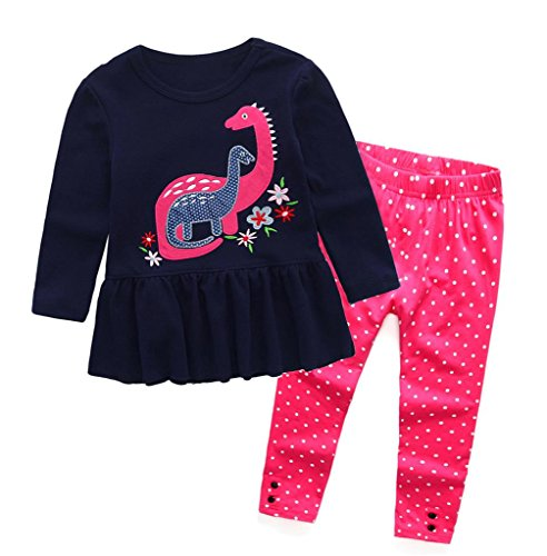 Coralup Little Girls 2-Piece T-Shirt & Pant Set(Dinosaur) 932(3-4Y,Navy) ()
