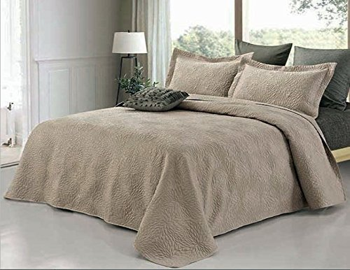 Sateen 3 Piece Quilt Set Emma Taupe King Size