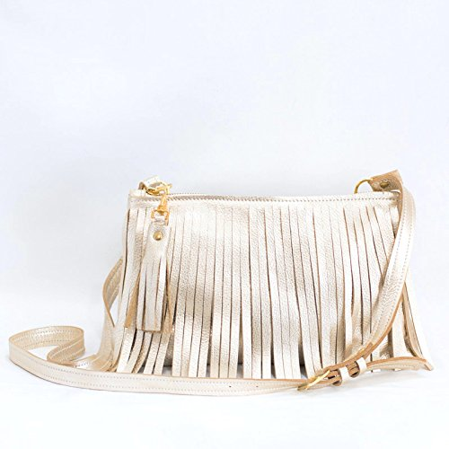 Fringe Purse - Leather Crossbody Bag - GOLD Fringed Handbag - Metallic Leather Fringe Bag by