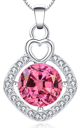 Swarovski Apple Silver Crystal Plated (Women Pendant Necklace Pink J. Fée Square Necklace 18K White Gold Plated Swarovski Diamond CZ Christmas Gifts for Women Anniversary Gifts for Her Birthday Gifts for Mom Daughter Jewelry for Women)