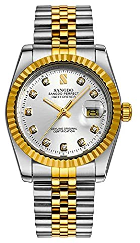 Mastop Men's Watch Diamond Dial Silver Gold Two-tone Stainless Steel Automatic Mechanical Bracelet (Sangdo Automatic Watches)