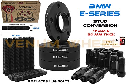 (E36 E46 E90 E92 E64 E23 E32 E38 E31 328I 330i 525i 540i 635i 730i 740i 850i Z4 Z8 Black Staggered Wheel Spacers (2) 17mm + (2) 30mm Thick + 12x1.5 Black Racing Stud Conversion Kit Fast Shipping)