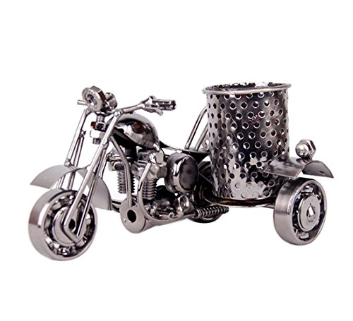 Motorcycle Pencil Holder,Metal Motorcycle Pen Holder,Creative Office Desktop Artwork(Black)
