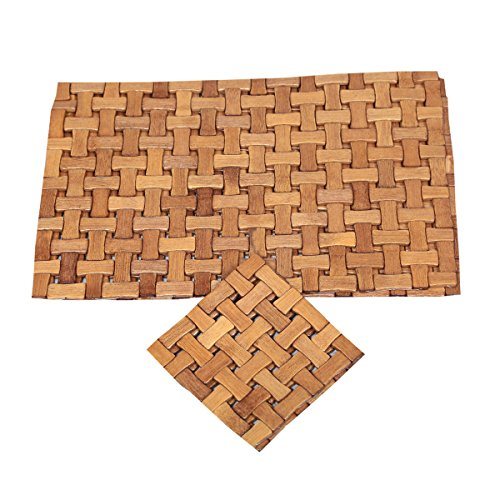Kuber Industries Bamboo Dining Table Placemats Wtth Tea Coas