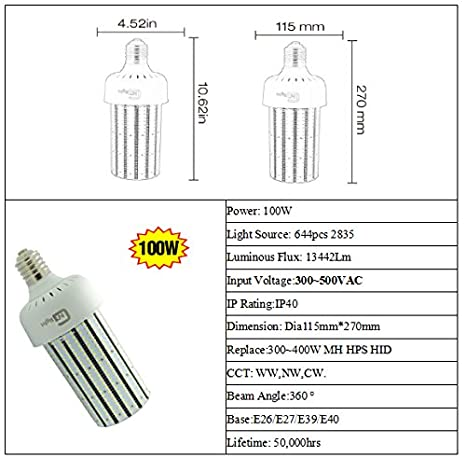 480Volt LED Corn Cob Bulb 100W Replace 400W Dusk to Dawn Security Yard Light E39 Mogul Base 6000K Daylight AC200-500V - - Amazon.com