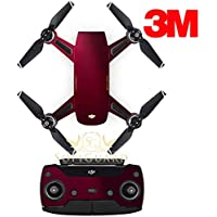 SopiGuard 3M Gloss Wine Red Precision Edge-to-Edge Coverage Vinyl Sticker Skin Controller 3 x Battery Wraps for DJI Spark