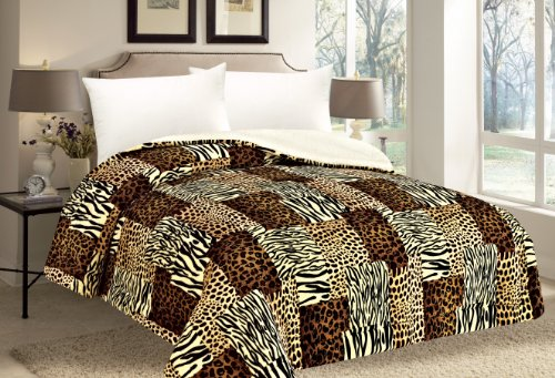Queen Comforter Thick Warm Sumptuously Soft Beautifully Plush Faux Fur Borrego / Microfiber Reversible Sherpa Winter Blankets Choose From Purple Black Burgundy Animal Print (Animal Print YZ 247) (Queen Print Animal Size Blanket)