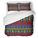 SanChic Duvet Cover Set Blue Geometric Pixel Aztecs Colorful Pattern Abstract Africa Decorative Bedding Set with 2 Pillow Shams King Size