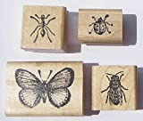 Nature's Blessings Fine Art Stamps, Set of 4 Small Insect Stamps: Bee, Ant, Ladybug, & Small Butterfly