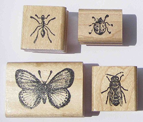 Nature's Blessings Fine Art Stamps, Set of 4 Small Insect Stamps: Bee, Ant, Ladybug, & Small Butterfly by Nature's Blessings