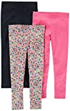 Carter's Baby Girls' Toddler 3-Pack Legging, Black/Floral/Pink, 4T