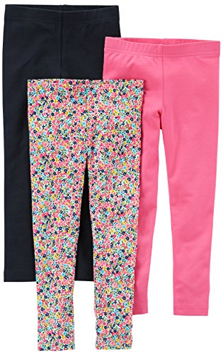 Carter's Girls' Big 3-Pack Leggings, Black/Floral/Pink, 4