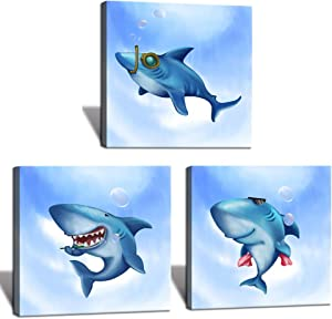 HOMEOART Blue Ocean Lovely Shark Painting Picture Canvas Print Kids Children Funny Bathroom Wall Decor 3 Pieces, Framed