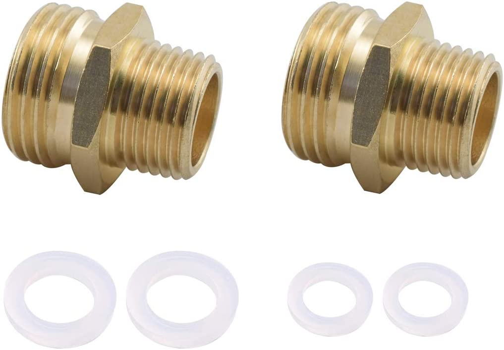 """SDTC Tech 2-Pack Brass Garden Hose Fitting Adapter 3/4"""" to 1/2"""" Double Male Thread Quick Connector"""