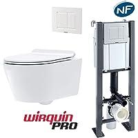 Pack WC suspendu autoportant SOHO : Bâti-support + Cuvette céramique + Abattant + Plaque 3/6 L