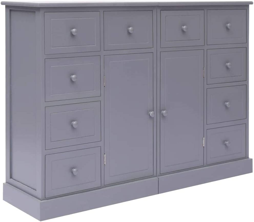 Festnight Sideboard with 10 Drawers High Cabinet Grey 113x30x79 cm Wood chest of drawers Storage Cabinet with Door