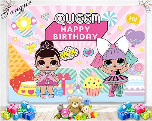 TJ Cartoon Pink Girl Theme Backdrop Girls Queen Happy Birthday Party Photography Background Candy Ice Cream Cake Table Decoration Baby Shower Photo Studio Booth Props Banner 7x5FT Vinyl -