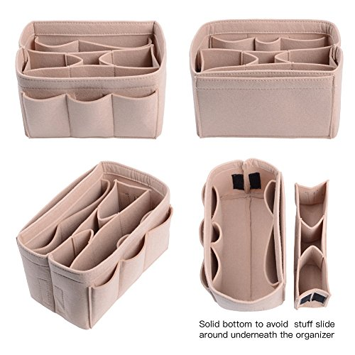 Purse Organizer, Bag Organizer With Sewn Bottom Insert New Design, Medium, Large (Large, Beige) by ZTUJO (Image #2)