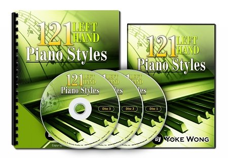 Piano Lessons: 121 Left Hand Piano Styles (3 DVDs, 1 Book) (Home Study Course)