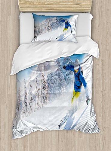 Ambesonne Winter Duvet Cover Set Twin Size, Skier Skiing Downhill in High Mountains Extreme Winter Sports Hobbies Activity, Decorative 2 Piece Bedding Set with 1 Pillow - And Activities Winter Sports