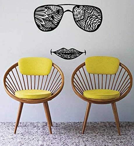 (BYRON HOYLE Wall Window Decal Sticker Sunglasses Lips Indian Pattern Henna Tattoo Yoga Studio Decor 1025b)