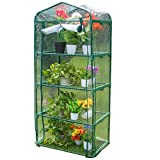 Sundale Outdoor Gardening Portable Mini Green House with 4 Tier 4 Shelf and PVC Cover, Waterproof Hot Green House, 27''(L) x 19''(W) x 63''(H)