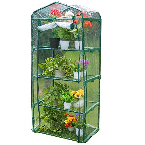 Sundale Outdoor Gardening Portable Mini Green House with 4 Tier 4 Shelf and PVC Cover, Waterproof Hot Green House, 27