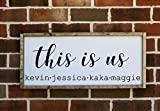 This is Us with family names farmhouse style wooden framed sign