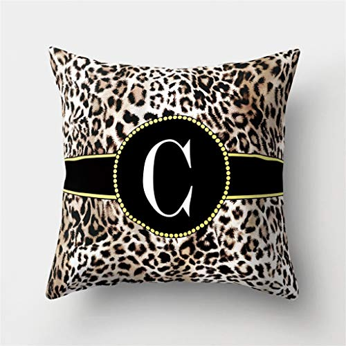 - Throw Pillow Covers, Leopard English Alphabet (A-Z) Print Pillow Case Cushion Cover Home Decor 18