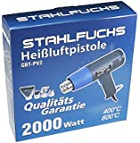 STAHLFUCHS Heißluftpistole 2000 Watt Heißluftfön Fön 400°C - 600°C / 2 Stufen inkl. 4. tlg. Zubehör [ 2. Generation ] GP2.EV