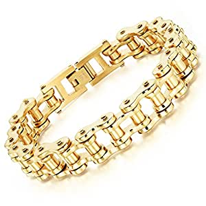 Men Stainless SteelBike Bicycle Chain Link Bracelet Chunky & Two Tone Long Male Jewelry Gift GoldenÂ