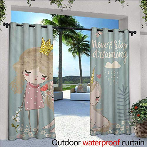 Quote Outdoor- Free Standing Outdoor Privacy Curtain Artistic Composition with Little Princess Girl Unicorn Never Stop Dreaming Quote for Front Porch Covered Patio Gazebo Dock Beach Home W96 x L84 -