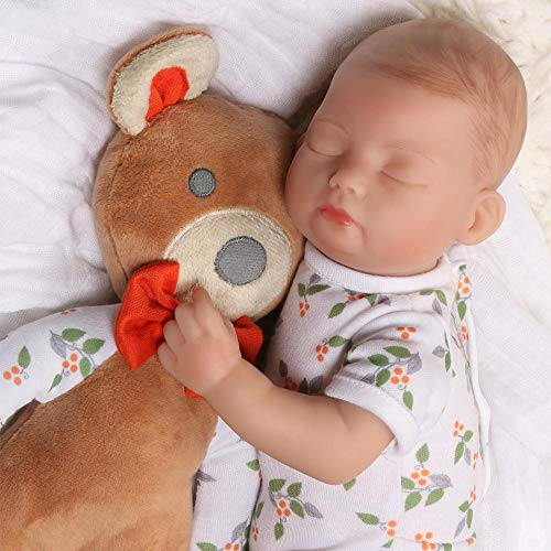 Paradise Galleries Sleeping Tiny Reborn Baby Doll 12 inch - Bitsy Baby Bear Hugs, Full Vinyl Arms & Legs, 4-Piece Gift Set, Safety Tested for 3+ from Paradise Galleries