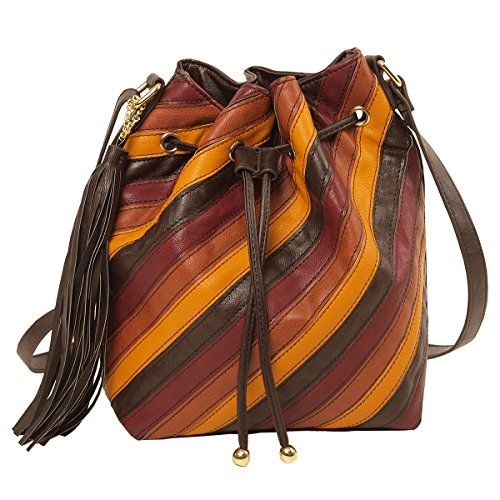 Imoshion Women's Brown-Comco Faux Leather Designer Striped Pieced Bucket Bag with Adjustable Crossbody Strap And Drawstring Closure