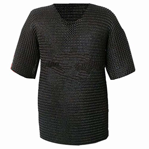 Queen Brass Chainmail Shirt Armor, Xtra Large, Medieval:Chain Mail Shirt Armour Costume XL Standard Black