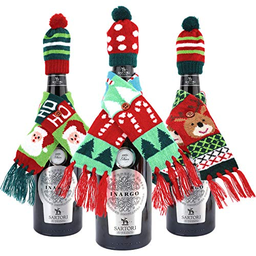 Nuovoware Christmas Wine Bottle Cover, Christmas Décor Gift Bags Knitted Wine Sweaters Cover Scarf Dress with Hat Perfect for X-Mas Party Holiday Table Decorations, Set of 3, Colorful