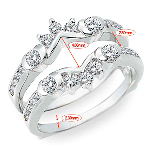 TwoBirch 1 ct. Cubic Zirconia Half Halo Classic Style Ring Guard in Sterling Silver (1 ct. twt.) by TwoBirch (Image #7)